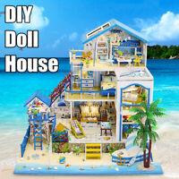 DIY Dollhouse Beach Villa Furniture LED Light Kits Handmade Building Model