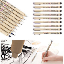9Pcs Black Drawing Pens Artists Fine Liner & Brush for Drawing Signature Pens