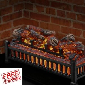 Electric Fireplace Insert Logs Crackling Sound Faux Glowing Flame LED NOT Heater