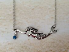 NAUTICAL SILVER TONE MERMAID CONNECTOR CHARM BLUE RHINESTONE CHAIN NECKLACE