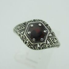 Filigree Ring Size 7 Sterling Silver Vintage Style Garnet