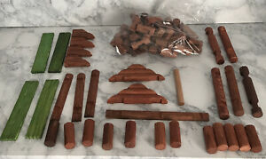 Lot of Assorted Wooden Lincoln Logs Bulk Parts 81 Pieces Logs Roof - Good shape