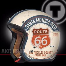 Route 66 PCH Open Face Retro Vintage Style Motorcycle Scooter 3/4 Helmet Large
