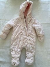 Baby Girl 3-6 Months Pram Suit With Gloves Warm Bodysuit