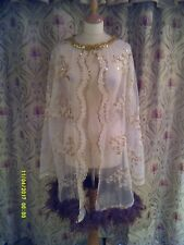 Drag Queen/Cabaret SHORT Cream/Gold glitter SHORT coat with Brown feathers 20/22
