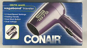 CONAIR Hair Dryer Foldable Vagabond Traveler 1875 Watt 124L 2005 New Old Stock
