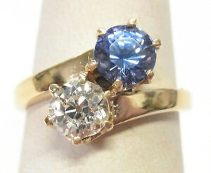 GIA .76ct Old Euro Diamond Bypass Ring .85ct Natural Sapphire Solid Gold Vintage