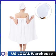 Women Soft Spa Bath Body Wrap Towel Bathrobe With Fast Dry Hair Drying Cap Set.