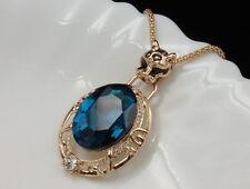 bling celebrity leopard bite CZ blue crystal gold plated pendant necklace N22