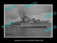 OLD POSTCARD SIZE PHOTO OF AUSTRALIAN NAVY SHIP HMAS TOBRUK c1950
