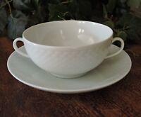 Cream Soup Bowl & Saucer Set Bing & Grondahl Elegance White Textured Danish #481