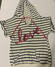 No Boundries: M(7-9) Cotton Blend Striped Short Sleeve Hoodie Sequins