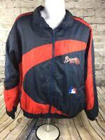 VINTAGE Atlanta Braves Pro Player Windbreaker Jacket Sz Adult L Large MLB Lined