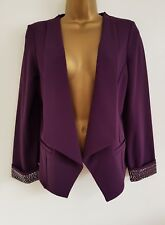 NEW Ex Wallis 8-20 Purple Embellished Waterfall Blazer Jacket Occasion Wedding