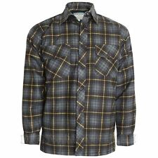 Mens Thick Lumberjack Check Button up Padded Quilted Lined Winter Shirt Jacket Charcoal / Yellow L