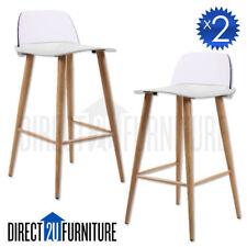 2x TORONTO WHITE Retro Replica Designer Bar Stools Chairs Café Home Modern ABS