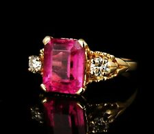 VINTAGE ESTATE NATURAL 4.30ctw PINK TOURMALINE & DIAMOND SOLID 14K GOLD RING