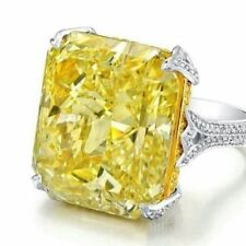 Fashion Ring In 925 Sterling Silver 10Ct Radiant Shaped Yellow Stone Women's