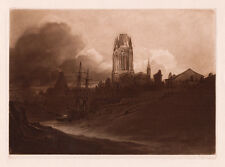 "Great 1800s John Sell Cotman Original Mezzotint ""St. Mary, Redcliffe"" SIGNED COA"