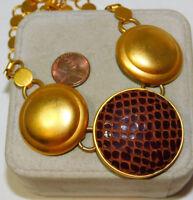 "Vintage DAUPLAISE Matte Gold Snake skin Circle Pendant Chain 18"" Necklace 9j 10"