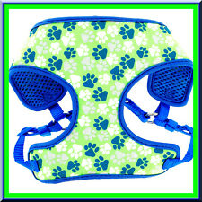 Top Paw REFLECTIVE Lime Green, White, Silver Blue Paw Print Soft Dog Harness XXS