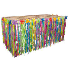 Pretty Fringed Table Skirt with Decorative Flowers - Hawaiian Summer Party - New