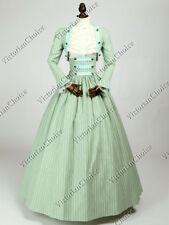 Victorian Civil War Dickens Reenactment Dress Mint Stripes 3pc Cosplay Gown 187