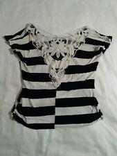 Blouse top black white stripe lace free kisses