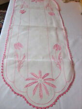 """vintage DRESSER SCARF-TABLE RUNNER-PINK EMBROIDERY ON WHITE 15"""" x 44"""""""