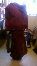 Unusual Maroon Mizuno Single Strap Carry Cart Bag Hood/Zips all good GC