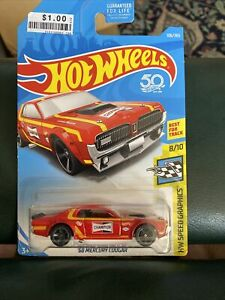 Hot Wheels 1968 Mercury Cougar Red Car Coupe HW Speed Graphics Champion Goodyear