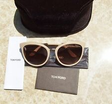 Tom Ford Women's Sunglasses Cat Eye Nude Blush Matte Gold Accents $405 NEW