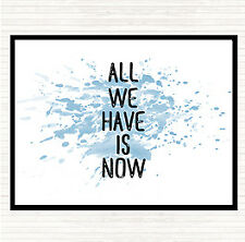 Blue White All We Have Is Now Inspirational Quote Mouse Mat Pad