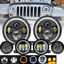"7"" LED Halo Headlights&Fog&Turn Light Combo Kit Fit Jeep Wrangler JK 2007-2018"