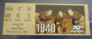 1995-1996 Montreal Canadiens vs New York Rangers Ticket stub 15/02/1996 70 Anniv