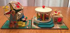 Vintage 1964 Fisher Price Amusement Park Set Ferris Wheel & Merry Go Round