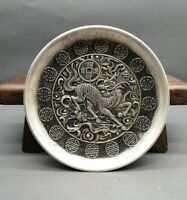 Collect noble Decor silver copper carved lucky kylin kirin statue fengshui plate