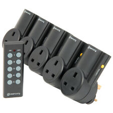 5x Black Wireless UK Plug-in Mains Socket & Remote Control Energy Saving Switch