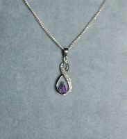 925 Sterling Silver Genuine Necklace With Infinity Circle Pendant With Amethyst