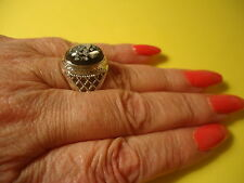 Men's Ladies Ring W/Natural Shell Oval Gemstone Silver Plate Size -9.0    #R22