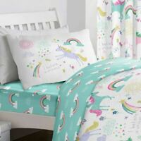 Rainbow Unicorn Girls Reversible Duvet cover set and Accessories by Bedlam