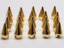 100 Golden Metallic Rock Punk Spike Rivet Acrylic Taper Stud Beads 13X6mm