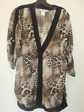 NEW MISOOK SMALL SHEER  LEOPARD PRINT CARDIGAN