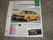 USA 1970-1971 Mercury CYCLONE Spoiler Hot Cars Group 4 # 40 Spec Sheet Brochure