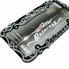 Princess Chrome-Black Bling Diamond License Plate Tag Frame for Auto-Car-Truck