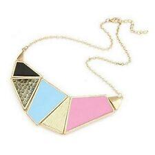 Unique Gold Tone Geometric Colourful Enamel Statement Necklace - Pink Blue Black