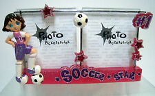 New Girls Soccer Star #1 Sparkle Pink Purple Photo Frame Picture Frames