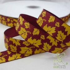 "5/8""16mm Dark Red Maple Leaves Grosgrain Ribbon Lot Bow Craft 5 Yards Sewing DIY"