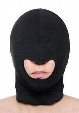 BLOW HOLE FACE MASK SPANDEX HOOD Mouth opening costume balaclava black stretchy
