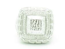 Platinum Silver Genuine White Diamond Pave Set Hand Made Right Hand Square Ring